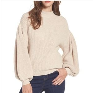 Leith Beige Mock Neck Puff Sleeve Knit Sweater XS